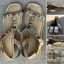 Vintage Signals By Beacon Sandals Gold W/ Muticolor Squares 8 Aa 8 N