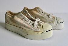 Vintage Converse Jack Purcell Platform Shoes Canvas White NOS Men 6.5 Women 7.5