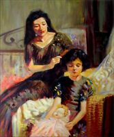 Hand Painted Oil Painting Mother Braiding Her Daughter's Hair 20x24in