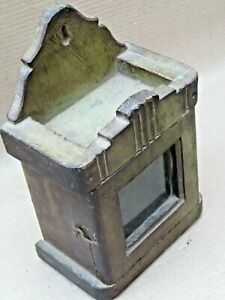 Antique Wood Mini Cabinet Display showcase distressed original Green color