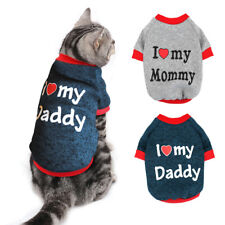 Cat Sweater for Cats I Love My Mom/Dad Small Dog Jumper Puppy Clothes Girl Boy