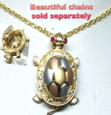 """GOLD Turtle 14k pendant simulated Ruby Diamond locket good luck mother baby 1"""""""