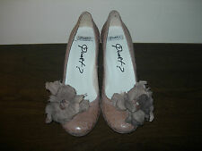 QUEST? WOMEN'S COURT SHOES LIGHT BROWN LEATHER FLORAL EU SIZE 37 / UK 4