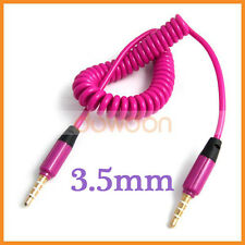 3.5mm Male to Male Audio Car Aux Extension Retractable spring Cable Pink