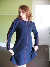 RETRO CHIC TWIGGY STL Ellen Tracy 100%WOOL NAVY DRESS 2