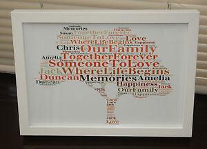 Personalised word art Family Tree Keepsake Print / Print & frame Unique Gift