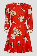 Topshop Red Paint Floral Frill Flippy Tea Dress - Size 8