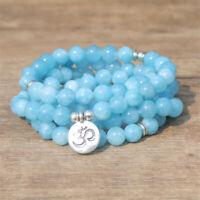 6mm Blue Jade 108 Beads Lotus Pendant Bracelet yoga energy Lucky Meditation
