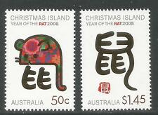 Christmas Island 2008 Lunar New Year/Rat--Attractive Topical (467-68) MNH