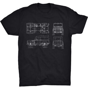 Land Rover T Shirt Tech Blueprint Sketch 4x4 Off Road British UK Defender