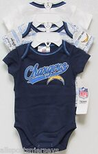 NFL NWT INFANT ONESIE-SET OF 3- SAN DIEGO CHARGERS 18 MONTHS