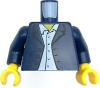 Lego New Red Minifig Torso Dark Blue Overalls over Tank Top Gold Chains Pendant