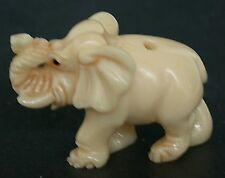 Vintage Japanese ivory colored bone netsuke -Baby Elephant Walks with Trunk up