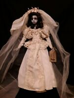 "Creepy Scary Spooky Undead Demon Doll 'Aurora' Ooak 24"" Bride Doll with Stand"