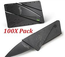 Wholesale 100 Credit Card Knives Pocket Wallet Folding Survival Steel Blade Tool