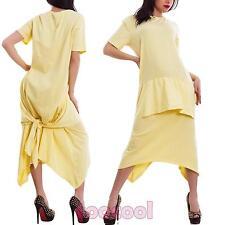 Vestido de mujer largo traje algodón manga corta grande asimétrico nuevo CJ-2546