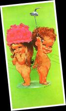 "W M OTTO Big Eye Kids Bathing Shower boy girl 1960s Kitch = Fine ART PRINT 6x12"""