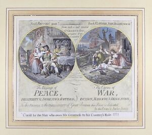 "James Gillray Colored Lithographed Print ""Blessings of Peace Curses of War"""