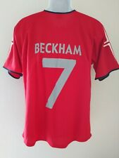 England Football Soccer David Beckham #7 Red Shirt Men's Size XL