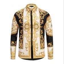 Men Runway Fashion Gold Floral Printed Nightclub Long Sleeve Casual Shirts New