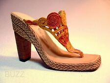 Los Cabos Thong Swirling Upper Stacked Wooden Heel Wicker Just the Right Shoe