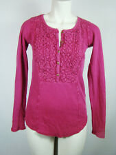 Lucky Brand Thermal Style Bib Tee Pink Long Sleeve Shirt Blouse Womens XS