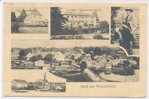 Gruß aus Wiesenfelden Wildschütz Gräfliches Försterhaus Briefmarken entfernt