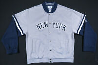 New York Yankees Adidas MLB Baseball Sewn Gray Blue Full Snap Mens Jacket L