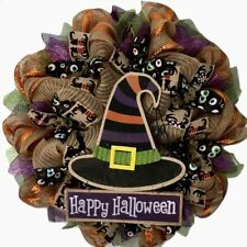 Happy Halloween Witch Hat Handmade Deco Mesh Wreath
