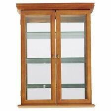 Hardwood Console Curio Wall-Mounted Glass Door Display Cabinet
