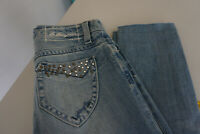 BLUE FREE Damen Jeans stretch Hose Gr.32 26/27 W26 L27 used blau mit Niete #83