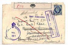 GB WW2 RETOUR Cover Forces FPO BNAF Return *Unit disbanded*Explanatory 1943 AN72