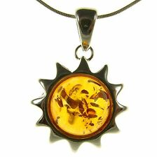 ORANGE BALTIC AMBER STERLING SILVER 925 SUN PENDANT JEWELLERY JEWELRY GIFT BOXED