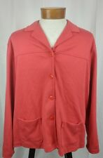 Lands' End Long Sleeve Button Front Woman's Sweater Cotton Pink XL (18/20)