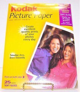 KODAK Picture Paper For Inkjet Printers Soft Gloss 25 Sheets 8.5 x11 Brand New