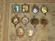 5 + Five Pair Vintage Brass Glass Framed Pictures Italy - Minature Sets = NICE !