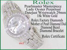ROLEX LADIES PEARLMASTER MASTERPIECE 18kWG FULL FACTORY DIAMONDS 29mm ROLEX CERT