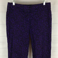 Ann Taylor LOFT Marisa womens size 8 stretch purple floral tapered crop pants