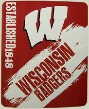 Blanket Fleece Throw Ncaa Wisconsin Badgers New 50�x60� with protective sleeve