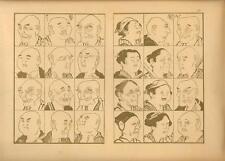 Stampa antica GIAPPONE JAPAN STYLE visi di uomini e donne 1885 Antique print