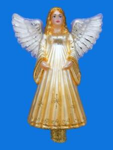 XL GOLDEN ANGEL EXCLUSIVE EUROPEAN GLASS TREE TOPPER FINIAL CHRISTMAS ORNAMENT