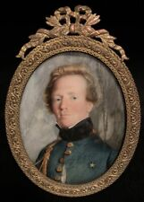 Antique Miniature Portrait Military Officer Early 19th Century Brass Frame