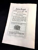 PARLIAMENT ACT 1695 William III Reign - England, Scotland, France and Ireland