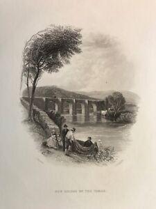 1842 Antique Print; Gunnislake New Bridge, Cornwall after T. Creswick