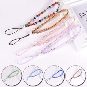 Women Men Mobile Phone Chain Crystal Beads Lanyard Straps Key Holder Charm Decor