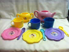 Pretend Dishes- Multi Color Tea pot, cups and Saucers