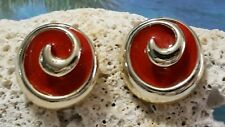 Gold Tone Swirl Button Clair's Collection Pierced Earrings w/Red Enamel Center