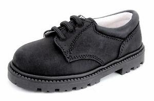 DE OSU/FARO - Boys Black Leather Dress Casual School Shoes - European US 7-10