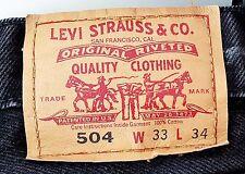 LEVI STRAUSS Original 504 Straight LEVI'S JEANS W33 L34 (L28) Pre-Owned Black