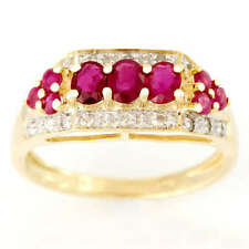 Cocktail Natural Ruby Yellow Gold Fine Rings